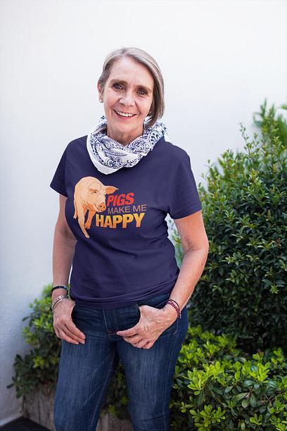 Pigs Make Me Happy Navy Shirt